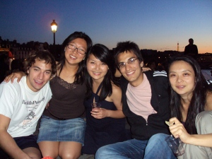 Frances and her interns at Pont neuf